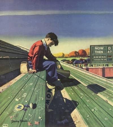 Vintage Illustration of Boy at Losing Game