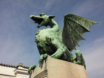 Green colored winged dragon statue